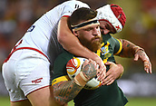2nd December 2017, Brisbane, Australia;  Rugby League World Cup - England versus Australia - Land Park, Brisbane, Australia . England's Chris Hill tackles Australia's Josh Mcguire during their final match