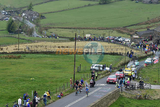 The breakaway group in action during Stage 3 of the Tour de Yorkshire 2017 running 194.5km from Bradford/Fox Valley to Sheffield, England. 30th April 2017. <br /> Picture: ASO/P.Ballet | Cyclefile<br /> <br /> <br /> All photos usage must carry mandatory copyright credit (&copy; Cyclefile | ASO/P.Ballet)