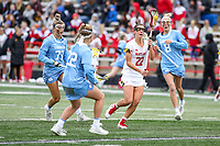College Park, MD - February 24, 2019: Maryland Terrapins midfielder Grace Griffin (22) runs with the ball during the game between North Carolina and Maryland at  Capital One Field at Maryland Stadium in College Park, MD.  (Photo by Elliott Brown/Media Images International)