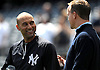 New York Yankees shortstop No. 2 Derek Jeter, left, chats with Denver Broncos quarterback Peyton during batting practice taken before the start of a Major League Baseball game versus the Tampa Bay Rays at Yankee Stadium on May 4, 2014.<br /> <br /> James Escher