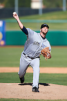 Peoria Javelinas pitcher Kevin Quackenbush #59, of the San Diego Padres organization, during an Arizona Fall League game against the Mesa Solar Sox at HoHoKam Park on October 15, 2012 in Mesa, Arizona.  Peoria defeated Mesa 9-2.  (Mike Janes/Four Seam Images)
