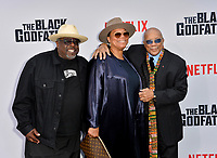 "LOS ANGELES, USA. June 04, 2019: Cedric the Entertainer, Queen Latifah & Quincy Jones at the premiere for ""The Black Godfather"" at Paramount Theatre.<br /> Picture: Paul Smith/Featureflash"