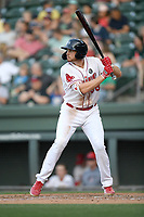 First baseman Triston Casas (38) of the Greenville Drive bats in a game against the West Virginia Power on Friday, May 17, 2019, at Fluor Field at the West End in Greenville, South Carolina. West Virginia won, 10-4. (Tom Priddy/Four Seam Images)