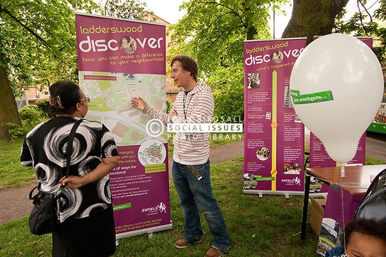 Informing local residents about regeneration of the Ladderswood housing estate, Enfield Council, London UK 2010. Once the development is finished there will be 500+ new homes and a community centre,