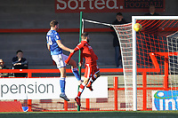 Harry Smith (L) of Macclesfield Town scores the first goal for his team during Crawley Town vs Macclesfield Town, Sky Bet EFL League 2 Football at Broadfield Stadium on 23rd February 2019