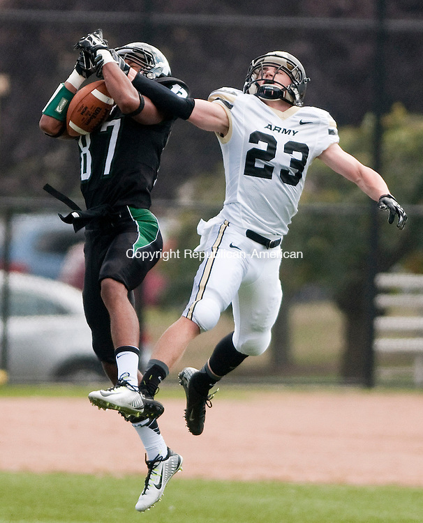 WATERBURY, CT 20 SEPTEMBER 2014-092014JS08--Army's Dakota Jones (23) breaks up a pass intended for Post's Rahmi Roundtree (87) during their sprint football game Saturday at LeMoy Field on the Post Campus in Waterbury.<br /> Jim Shannon Republican-American