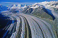 Aerial View of Kenicott Glacier With Medial Moraines flowing from Wrangell Mountains in Wrangell-St. Elias National Park, Alaska, AGPix_0045 .