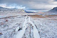 View of Kungsleden trail after autumn snow, near Tjaktja, Lapland, Sweden
