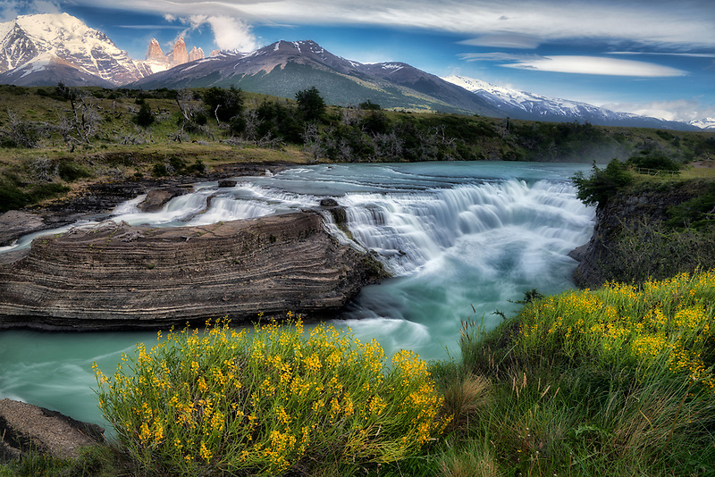 Rio Paine Waterfalls with Towers peaks. Torres del Paine National Park, Chile