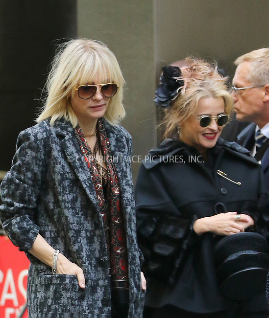 www.acepixs.com<br /> <br /> October 26 2016, New York City<br /> <br /> Actors Cate Blanchett (L) and Helena Bonham Carter were on the set of the new movie 'Ocean's Eight' on October 26 2016 in New York City<br /> <br /> By Line: Zelig Shaul/ACE Pictures<br /> <br /> <br /> ACE Pictures Inc<br /> Tel: 6467670430<br /> Email: info@acepixs.com<br /> www.acepixs.com