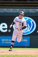 Blaise Salter (11) of the Michigan State Spartans runs during a 2015 Big Ten Conference Tournament game between the Nebraska Cornhuskers and Michigan State Spartans at Target Field on May 20, 2015 in Minneapolis, Minnesota. (Brace Hemmelgarn/Four Seam Images)