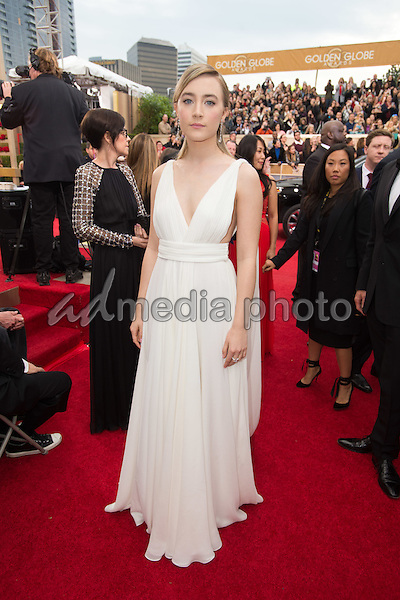 """Saoirse Ronan, Golden Globe Nominee for BEST PERFORMANCE BY AN ACTRESS IN A MOTION PICTURE - DRAMA for """"Brooklyn"""", arrives at the 73rd Annual Golden Globe Awards at the Beverly Hilton in Beverly Hills, CA on Sunday, January 10, 2016. Photo Credit: HFPA/AdMedia"""