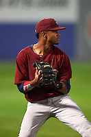 Mahoning Valley Scrappers shortstop Willi Castro (2) checks the runner after catching a popup during a game against the Auburn Doubledays on September 4, 2015 at Falcon Park in Auburn, New York.  Auburn defeated Mahoning Valley 5-1.  (Mike Janes/Four Seam Images)