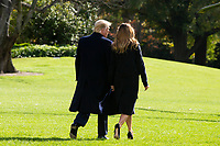 President Donald J. Trump and First Lady Melania Trump depart the South Lawn of the White House