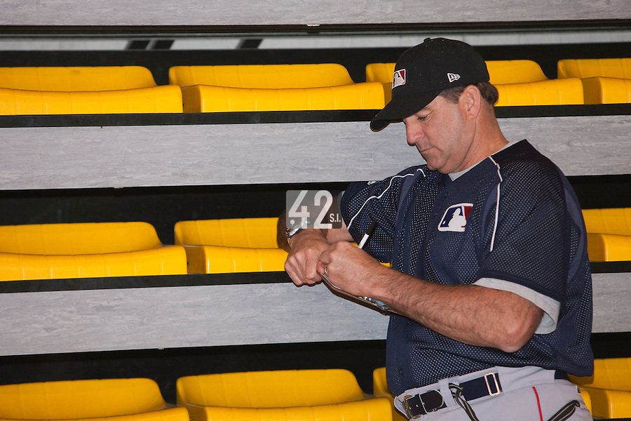 29 April 2009: Former MLB pitcher Bruce Hurst is seen during the first of six 2009 MLB European Academy Try-out Sessions throughout Europe, at Stade Pierre Rolland, in Rouen, France. Try-out sessions are run by members of the Major League Baseball Scouting Bureau with assistance from MLBI staff.
