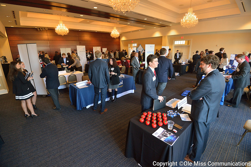 RMI, risk management and insurance, students get to talk to potential employers and feel out the job market at the RMI career fair.  Photo by Kevin Bain/Ole Miss Communications