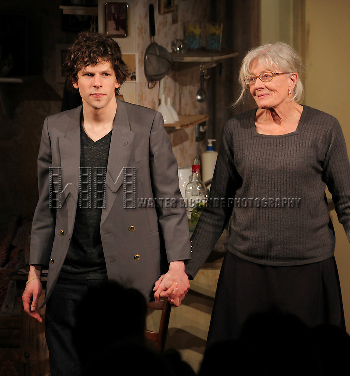 Jesse Eisenberg, Vanessa Redgrave  during the Opening Night Performance Curtain Call for the Rattlestick Playwrights Theater Production of 'The Revisionist' at the Cherry Lane  Theatre in New York City on 2/28/2013