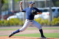New York Yankees pitcher Stefan Lopez #40 during a minor league Spring Training game against the Philadelphia Phillies at Carpenter Complex on March 21, 2013 in Clearwater, Florida.  (Mike Janes/Four Seam Images)