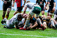 5th January 2020; Ricoh Arena, Coventry, West Midlands, England; English Premiership Rugby, Wasps versus Northampton Saints; Tom West of Wasps grimaces as he tries to get the ball over the try line - Editorial Use