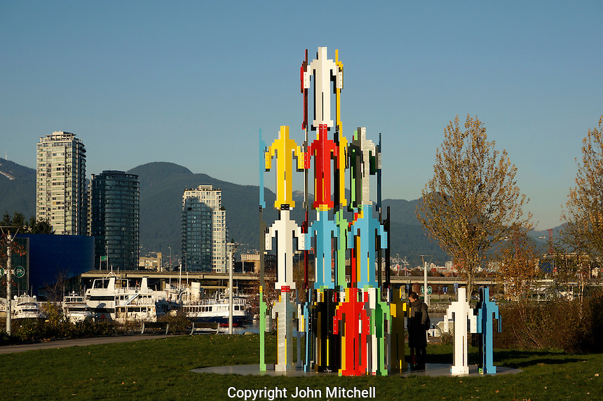 Human Structures Vancouver metal sculpture by Jonathan Borofsky at the Olympic Village, Vancouver, BC, Canada