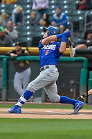 Matt Reynolds (5) of the Las Vegas 51s follows through on his swing against the Salt Lake Bees during the Pacific Coast League game at Smith's Ballpark on September 4, 2016 in Salt Lake City, Utah. The Bees defeated the 51s 4-3. (Stephen Smith/Four Seam Images)