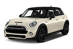 2019 MINI Hardtop-4-Door Cooper-S 5 Door Hatchback Angular Front stock photos of front three quarter view