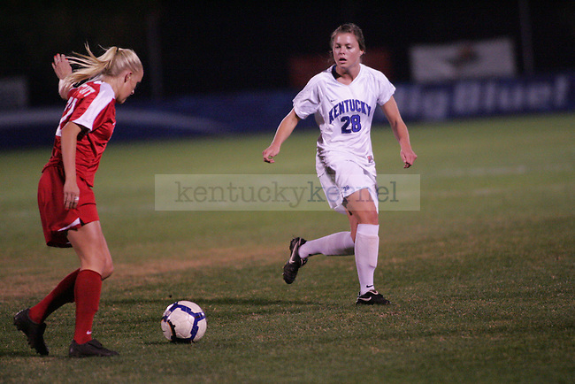 The UK Women's soccer team plays Ole Miss at the Soccer and Softball complex on Thursday night, Oct. 21, 2009. Photo by Adam Wolffbrandt | Staff