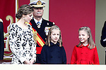 (L-R) Queen Letizia of Spain, Princess Leonor of Spain and Princess Sofia of Spain attend the National Day military parade. October 12 ,2016. (ALTERPHOTOS/Acero)