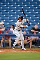 Mobile BayBears shortstop Riley Unroe (19) at bat during a game against the Mississippi Braves on May 7, 2018 at Trustmark Park in Pearl, Mississippi.  Mobile defeated Mississippi 5-0.  (Mike Janes/Four Seam Images)