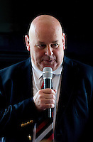 Jersey Chairman Bill Dempsey speaks during hospitality during the Greene King IPA Championship match between London Scottish Football Club and Jersey at Richmond Athletic Ground, Richmond, United Kingdom on 7 November 2015. Photo by Andy Rowland.