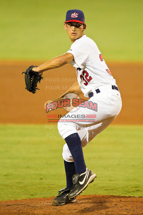 Chase DeJong #32 of the USA 18u National Team in action against the USA Baseball Collegiate National Team at the USA Baseball National Training Center on July 2, 2011 in Cary, North Carolina.  The College National Team defeated the 18u team 8-1.  Brian Westerholt / Four Seam Images