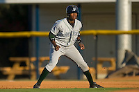 Tim Beckham (6) of the Princeton Rays takes his lead off of first base at Burlington Athletic Park in Burlington, NC, Monday August 11, 2008. (Photo by Brian Westerholt / Four Seam Images)