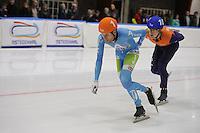 SCHAATSEN: LEEUWARDEN: 30-09-2015, Elfstedenhal, 1e competitiewedstrijd Mass Start, Arjan Stroetinga, Mark Prinsen (#10), ©foto Martin de Jong