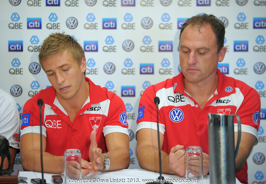 Swan captain Kieren Jack (left) and coach John Longmire speak to the media during the St Kilda Saints v Sydney Swans press conference at the Aotea Lounge, Westpac Stadium, Wellington, New Zealand on Wednesday, 24 May 2013. Photo: Dave Lintott / lintottphoto.co.nz