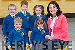 Mrs Lane Principal of Loughfouder NS Knocknagoshel NS with her junior infant class on Wednesday front row l-r: Donnacha Brosnan, Maeve Crean. Back row: Daniel Mangan, Ryan Collins and Emma Brosnan