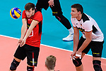 16.09.2019, Lotto Arena, Antwerpen<br />Volleyball, Europameisterschaft, Deutschland (GER) vs. …sterreich / Oesterreich (AUT)<br /><br />Annahme Julian Zenger (#10 GER) / Libero, Christian Fromm (#1 GER)<br /><br />  Foto © nordphoto / Kurth