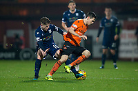 27th December 2019; Dens Park, Dundee, Scotland; Scottish Championship Football, Dundee Football Club versus Dundee United; Liam Smith of Dundee United challenges for the ball with Finlay Robertson of Dundee  - Editorial Use