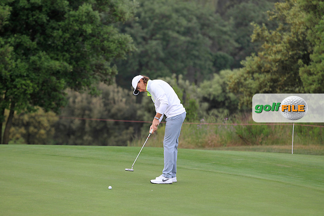 Tommy Fleetwood (ENG) on the 12th green during Round 1 of the Open de Espana  in Club de Golf el Prat, Barcelona on Thursday 14th May 2015.<br /> Picture:  Thos Caffrey / www.golffile.ie