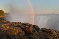 Rainbow coming from the gorge of the Victoria Falls