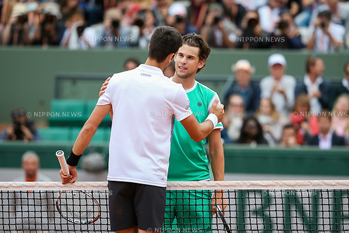 Dominic Thiem (AUT), JUNE 7, 2017 - Tennis : Dominic Thiem of Austria greets Novak Djokovic of Serbia after winning the Men's singles quarter-final match of the French Open tennis tournament at the Roland Garros in Paris, France. (Photo by AFLO)