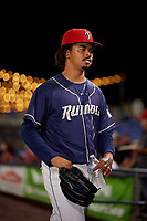 Binghamton Rumble Ponies starting pitcher Harol Gonzalez (18) before a game against the Portland Sea Dogs on August 31, 2018 at NYSEG Stadium in Binghamton, New York.  Portland defeated Binghamton 4-1.  (Mike Janes/Four Seam Images)