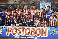 BARRANQUIILLA -COLOMBIA-02-04-2014. Jugadores del Atlético Junior posan para una foto fr grupo previo al partido contra Boyacá Chicó por la fecha 14 de la Liga Postobón I 2014 jugado en el estadio Metropolitano Roberto Meléndez de la ciudad de Barranquilla./ Players of Atletico Junior pose to a photo group prior a match against Boyaca Chico for the 14th date of the Postobon League I 2014 played at Metropolitano Roberto Melendez stadium in Barranquilla city.  Photo: VizzorImage/Alfonso Cervantes/STR