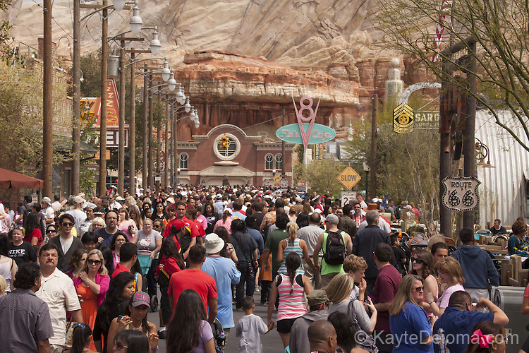 June 15-2012 - The opening day crowd for Cars Land at the Disney California Adventure theme park at Disneyland Resort in Anaheim, CA