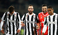 Calcio, Serie A: Fiorentina - Juventus, stadio Artemio Franchi Firenze 9 febbraio 2018.<br /> From left: Juventus' Rodrigo Bentancur, Gozalo Higuain, Gianluigi Buffon, Douglas Costa celebrate after winning 2-0 the Italian Serie A football match between Fiorentina and Juventus at Florence's Artemio Franchi stadium, February 9, 2018.<br /> UPDATE IMAGES PRESS/Isabella Bonotto