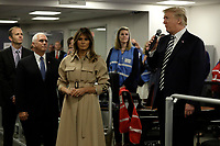 United States President Donald J. Trump speaks to employees next to First Lady Melania Trump and Vice President Mike Pence at the National Response Coordination Center inside the FEMA headquarters on June 6, 2018 in Washington, DC.<br /> <br /> CAP/MPI/RS<br /> &copy;RS/MPI/Capital Pictures