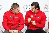 TonI Kroos and Gareth Bale participates and receives new Audi during the presentation of Real Madrid's new cars made by Audi in Madrid. December 01, 2014. (ALTERPHOTOS/Caro Marin) /Nortephoto
