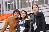 SPEEDSKATING: SOCHI: Adler Arena, 20-03-2013, Training, Martin Hersman (commentator NOS tv), Dione de Graaff (presentatrice NOS tv), Paulien van Deutekom (analist NOS tv), © Martin de Jong