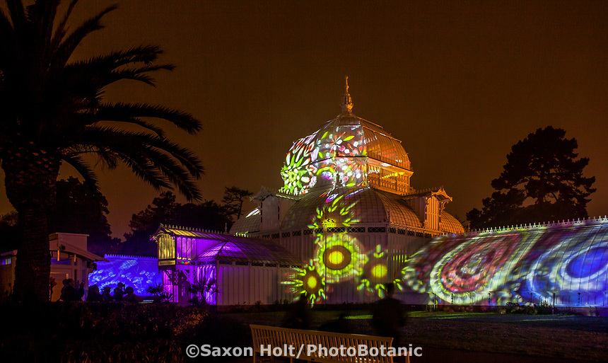 Lighting of San Francisco Conservatory of Flowers for 2017 Summer of Love Celebration in Golden Gate Park