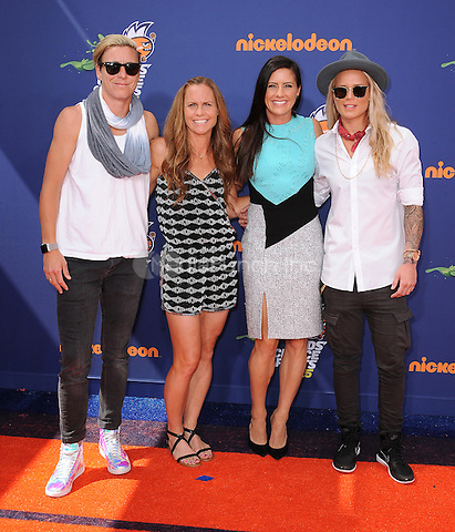 LOS ANGELES, CA - JULY 16:  Abby Wambach, Christie Rampone, Ali Krieger and Ashlyn Harris at the Nickelodeon Kids Choice Sports 2015 at the Pauley Pavilion on July 16, 2015 in Los Angeles, California. Credit: PGSK/MediaPunch