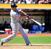 Sept. 12, 2010 - Oakland California, U.S. -Mike Lowell of the Boston Red Sox connects with a pitch against the Oakland Athletics at the Oakland Coliseum Saturday Sept. 12,  2010. The Red Sox won the Game 5-3. (Photo by Alan Greth)